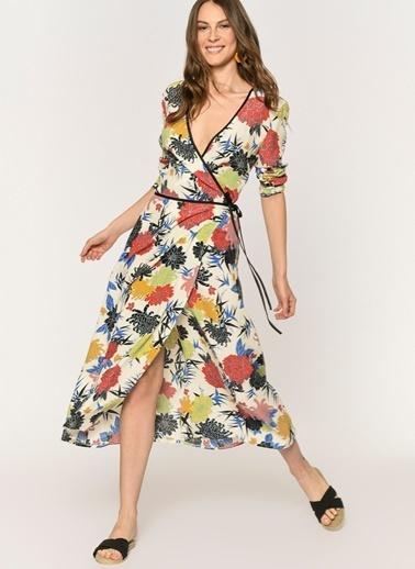Loves You Çiçek Desenli Anvelop Kimono Elbise Ekru